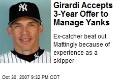 Girardi Accepts 3-Year Offer to Manage Yanks