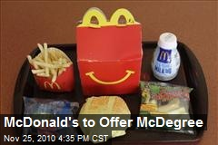 McDonald's to Offer McDegree