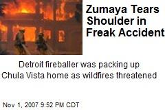 Zumaya Tears Shoulder in Freak Accident