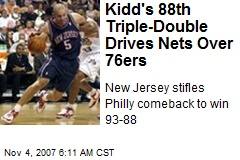 Kidd's 88th Triple-Double Drives Nets Over 76ers