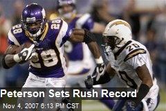 Peterson Sets Rush Record