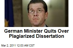 German Defense Minister Guttenberg Steps Down Over Plagiarized Thesis