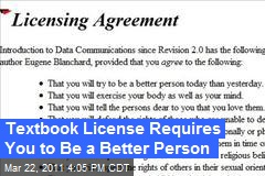 Textbook License Requires You to Be a Better Person