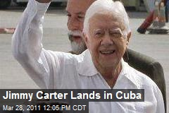 Jimmy Carter Lands in Cuba