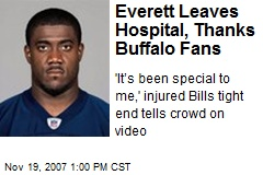 Everett Leaves Hospital, Thanks Buffalo Fans