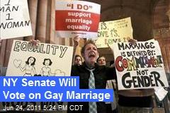 NY Senate Will Vote on Gay Marriage