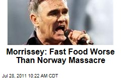 Morrissey: Fast Food Animal Abuses Worse Than Norway Terror Attacks