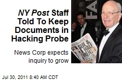 NY Post Staff Told To Keep Documents in Hacking Probe