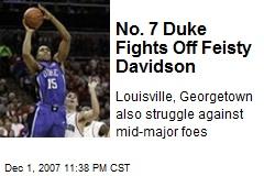 No. 7 Duke Fights Off Feisty Davidson