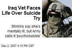 Iraq Vet Faces Life Over Suicide Try