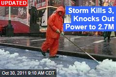 Ocsnowber: Northeast Snow Storm Kills 3, Knocks Out Power to 2.7M