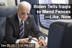 Joe Biden Urges Iraqi Leaders to Mend Sectarian Tensions