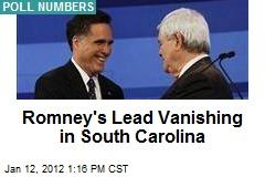 Romney's Lead Vanishing in South Carolina