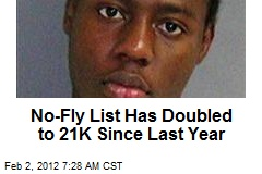 No-Fly List Has Doubled to 21K Since Last Year