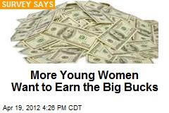 More Young Women Want to Earn the Big Bucks