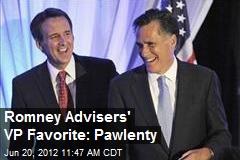 Romney Advisers' VP Favorite: Pawlenty