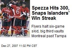 Spezza Hits 300, Snaps Islanders' Win Streak