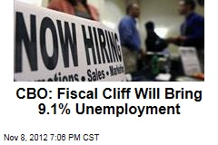 CBO: Fiscal Cliff Will Bring 9.1% Unemployment