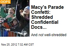Macy's Parade Confetti: Shredded Confidential Docs...