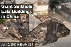 Giant Sinkhole Eats Buildings in China