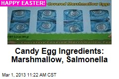 Candy Egg Ingredients: Marshmallow, Salmonella