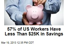57% of US Workers Have Less Than $25K in Savings