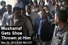 Musharraf Gets Shoe Thrown at Him