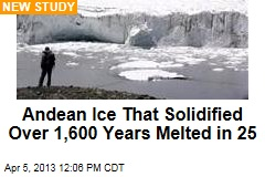 Andean Ice That Solidified Over 1,600 Years Melted in 25