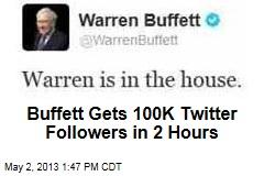Buffett Gets 100K Twitter Followers in 2 Hours