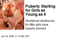 Puberty Starting for Girls as Young as 6