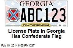 License Plate in Georgia Has Confederate Flag