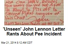 'Unseen' John Lennon Letter Rants About Pee Incident