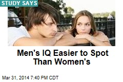 Men's IQ Easier to See Than Women's
