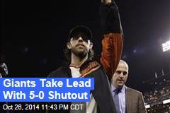 Giants Take Lead With 5-0 Shutout