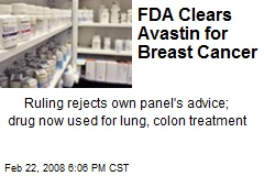 FDA Clears Avastin for Breast Cancer