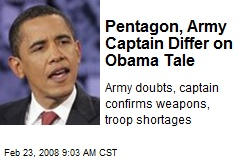 Pentagon, Army Captain Differ on Obama Tale