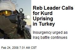 Reb Leader Calls for Kurd Uprising in Turkey