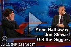 Anne Hathaway, Jon Stewart Get the Giggles