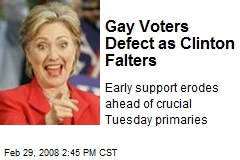 Gay Voters Defect as Clinton Falters
