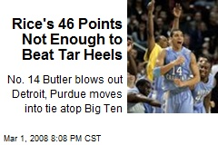 Rice's 46 Points Not Enough to Beat Tar Heels