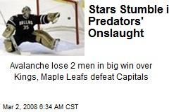 Stars Stumble in Predators' Onslaught