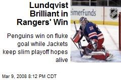 Lundqvist Brilliant in Rangers' Win