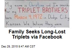 Family Seeks Long-Lost Triplets via Facebook