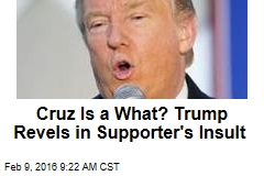 Cruz Is a What? Trump Revels in Supporter's Schoolyard Insult