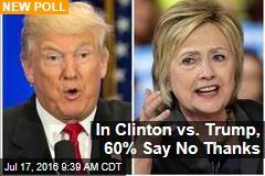 In Clinton vs. Trump, 60% Say No Thanks
