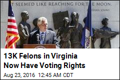 Va. Gov. Restores Voting Rights for 13K Felons
