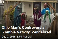 Ohio Man's Controversial 'Zombie Nativity' Vandalized