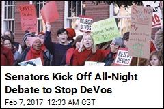 Senators Plan All-Night Debate to Stop DeVos