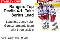 Rangers Top Devils 4-1, Take Series Lead
