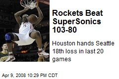 Rockets Beat SuperSonics 103-80